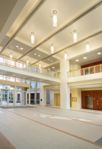A bright and airy entrance to the UF Cancer and Genetics Research Complex provide a transparent corridor that connects the cancer and genetics wing. The 280,000-square-foot structure will provide an environment to help scientists position UF at the forefront of health and life science research.