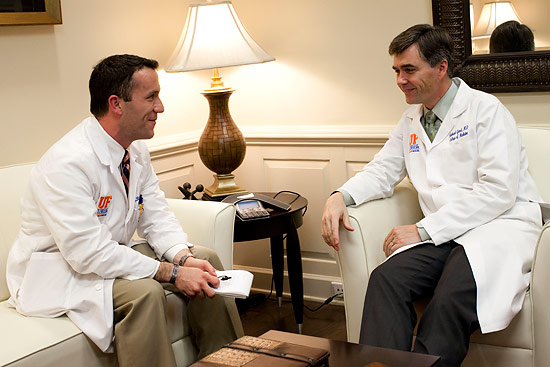 "John Reynold ""J.R."" taylor III, who received his medical degree from the College of medicine in may, sat down with the dean, Dr. michael L. Good, in April to interview him about the dean's vision for the future of the College of medicine. Photo by Priscilla Santos"
