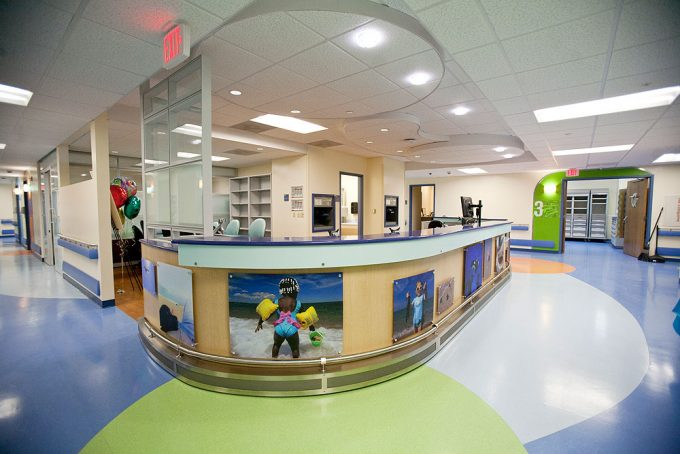 The nurses station is shown at the new Pediatric Emergency Room, which is specially designed to care for Shands' youngest patients.