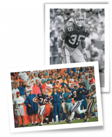 Photos of Michael Gilmore, MD '99, during his Gator football days.
