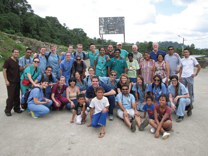 Kristen McCutcheon and fellow College of Medicine students set up a clinic in Toachi, a village in Santo Domingo, Ecuador. Photo courtesy of Kristen McCutcheon