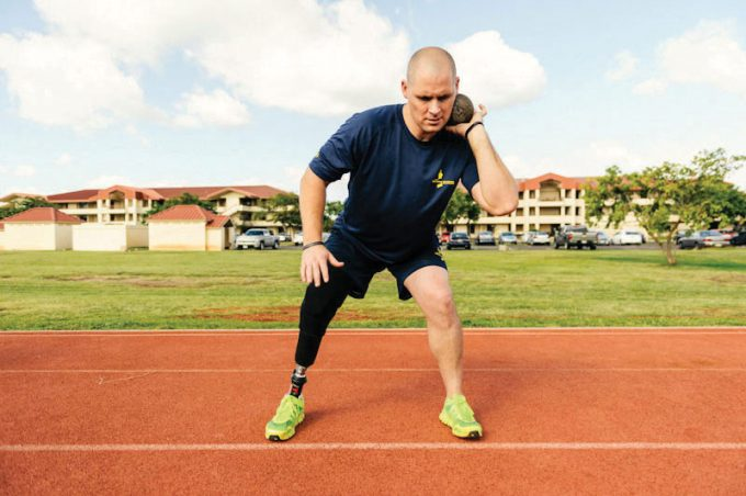 Brett Parks competes in the shot put event at the Wounded Warrior Pacific Invitational in Hawaii.